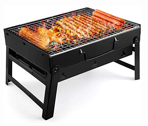 UTTORA Barbecue Grill,Portable BBQ Grill Charcoal Stainless Steel Foldable Charcoal Barbecue Smoker BBQ for Picnic Garden Terrace Camping Travel