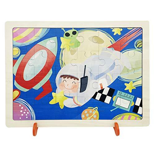 EACHHAHA Puzzle de Madera para Niños, 24 Piezas Expedición Espacial Astronauta Rompecabezas para niños de 2 3 4 5 años