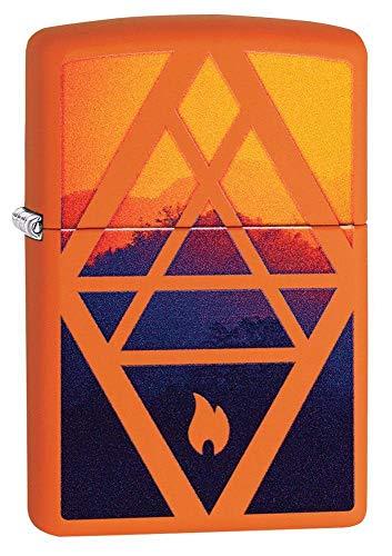 Zippo Geometric Flame Design Pocket Lighter, Orange Matte, One Size