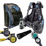 Cressi Travelight 15 LBS Scuba Diving Package Carry On Reg Dive Computer 6 Blue Kraken Dive Torch Men-XL