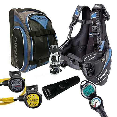 Cressi Travelight 15 LBS Scuba Diving Package Carry On Reg Dive Computer 7 Blue-Reg-Bag Kraken Dive Torch Men-M