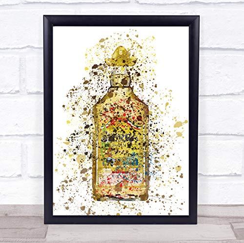Gouden Mexicaanse Tequila Fles muur kunst ingelijst Print Framed White Large