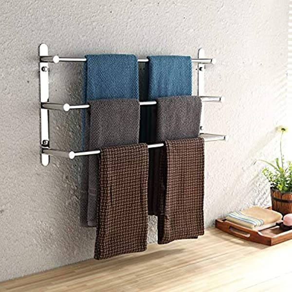 L T LIGHTS Rustproof 304 Stainless Steel Hand Polishing Finished Three Towel Bars Rack Wall Mounted Or Nail Free Multilayer Bathroom Accessories