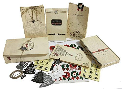Robusta busta di carta - 24 sacchetti di carta natalizia + 44 simpatici adesivi natalizi + 3 metri di corda di juta + 14 pendenti di natale + 6 pendenti in metallo vintage - borsa regalo per fatti a m