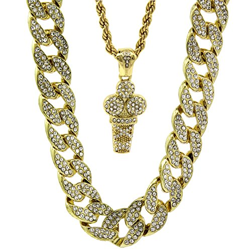 Jewel Town Mens 14k Gold Plated 15mm Iced Cz Miami Cuban 30' Chain Ice Cream Pendant Set