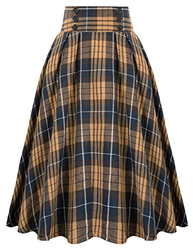Vintage High Waist Plaid Skirt for Work Swing Skirt, Brown Plaid, Small