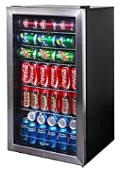"""Your purchase includes One NewAir 126 Can Freestanding Beverage Fridge with R600A refrigerant type (Limited Edition Design) Fridge dimensions: 18.40"""" Dx 18.90"""" W x 32.40"""" H (33.00"""" w/hinge)   Internal Volume: 3.4 ftᶾ   Beverage Capacity: 126   Fridg..."""