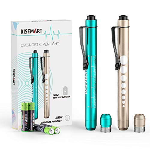 Pen Light, RISEMART Reusable LED Medical Penlight for Nurse Students Doctors with Pupil Gauge, Extra Warm Light Bulb, Pocket Clip and Batteries Included (Gold/MARRS Green)