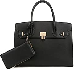 STYLISH & FUNCTIONAL: This stylish top handle faux leather satchel purse includes an adjustable and removable long shoulder strap that can be worn many different ways. Perfect for those sunny days when carrying a handbag is not an option. This should...