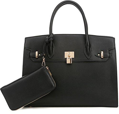 DELUXITY Women's Designer Top Handle Satchel Handbag Tote Bag Briefcase 2pc set | Orange/Beige