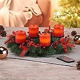 Haushalt International Weihnachtskranz mit LED-Echtwachskerzen und Fernbedienung Ø 30 cm