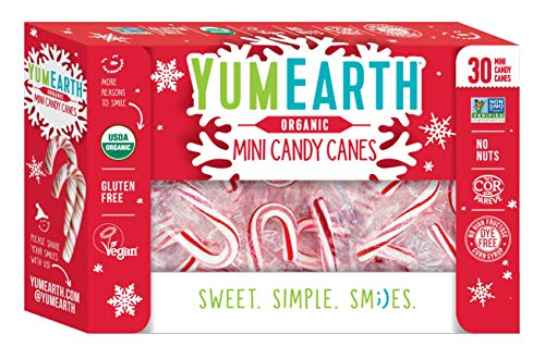 YumEarth Organic Mini Candy Canes, 30 Canes Per Pack - Allergy Friendly, Non GMO, Gluten Free, Vegan