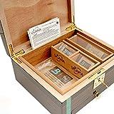 Cannabis Storage Humidor Ebony & Tamo Ash Wood Includes 3 Bud Coffins Plus