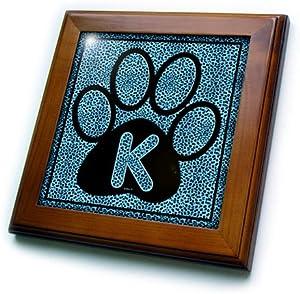 3dRose ft_25918_1 Letter K Blue Cheetah Print Cat Paw-Framed Tile, 8 by 8-Inch