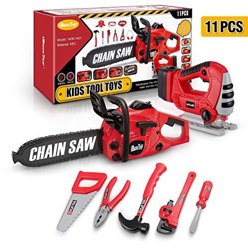 iBaseToy 11 Teile Werkzeugset für Kinder, Elektrowerkzeug inkl. Spielzeug-Kettensäge, Stichsäge...