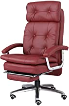 High-quality recliner Executive Recline Ergonomic Office Chair,PU Leather Recliner Rotate Adjustable Height Synchro Tilt Mechanism with Footrest Office Chair (Color : Red)
