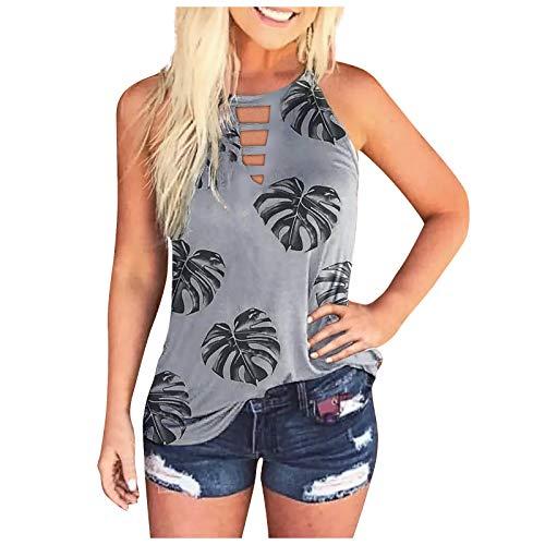 XOXSION Camiseta de verano para mujer, sin mangas, cuello redondo, estilo informal Gris L