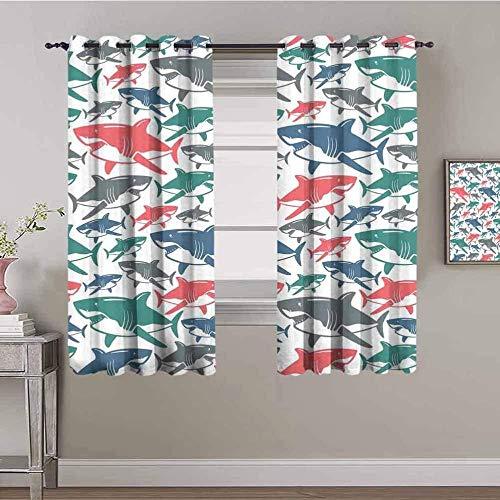 ZLYYH Cortinas De Salón Océano animal caricatura tiburón 140x229cm Cortinas extra largas Tratamientos de ventana para paneles y cortinas de sala de estar, cortinas extra largas de ojal clásico