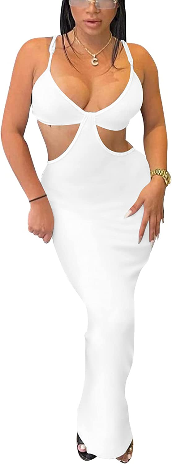 HOCILLE Women's Elegant Cut Out Spaghetti Strap Bodycon Backless Maxi Sexy Party Dress