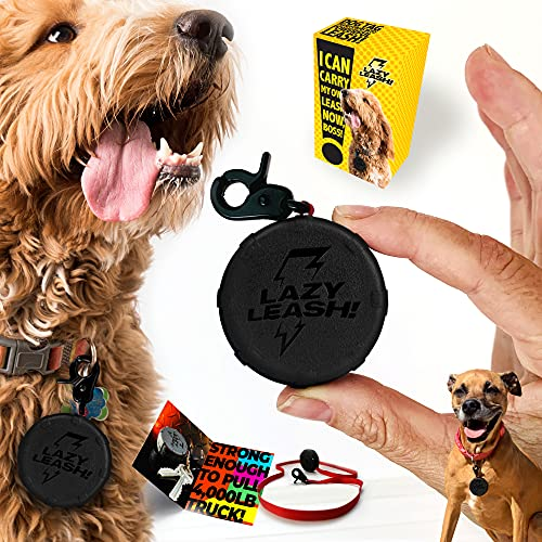 Pocket-Size Dog Leash Strong Enough to Pull a Truck. Lazy Leash! Easy to Hold & Ready When You are. Clip It to Your Keychain or Let Your Dog Carry The Leash! Mini Retractable Power Lead.