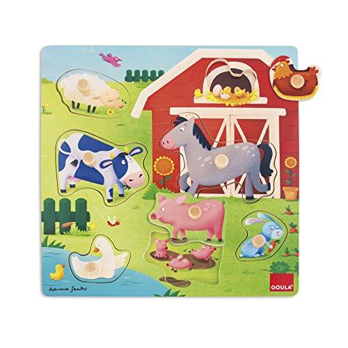 Goula - Puzzle con mamás y bebés de granja, color azul, rojo y amarillo (Diset 53040) , color/modelo surtido (Juguete)