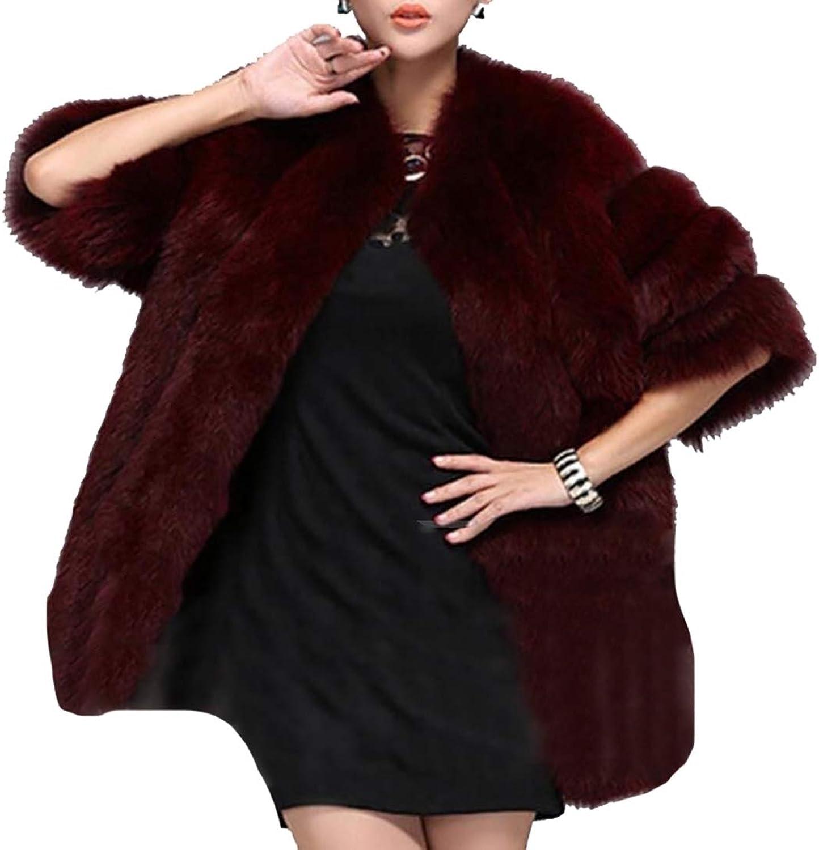 LEISHOP Women Winter Long Sleeve Open Coat Faux Fur Front Short Cardigan Jacket