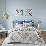 7 Piece Light Blue Grey Abstract Comforter Full Queen Set, Sky Blue White Gray Aztec Striped Geometric Medallion Mandala Pattern, Reversible Stripe Adult Bedding Master Bedroom, Cotton