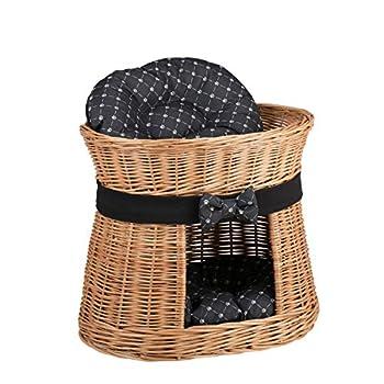 Wicker24 Panier, Maison en Osier à Deux étages, Panier Osier avec lit au Dessus et 2 Coussins Noirs imprimé Petits Pieds de Chats, Tour pour Chat