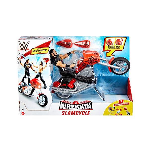 WWE Drew McIntyre con Motocicleta Destrucción Total Muñeco articulado con moto roja de juguete con piezas desmontables y…