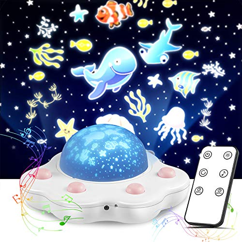 Dcola Luce Notturna Proiettore Stelle LED Lampada Proiettore Musicale con Telecomando Proiettore Cielo Stellato con USB Ricaricabile Funzione Timer per Regali Neonati Bimba Bambini