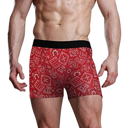 XiangHeFu Boxer Briefs voor heren Rood Bandana Stretch Ademende onderbroek