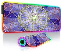 ゲーミングマウスパッドカラーラインラージRGBゲーミングマウスパッドコンピューターデスクパッドXXL LEDバックライトキーボードマット用31.5x11.8インチ