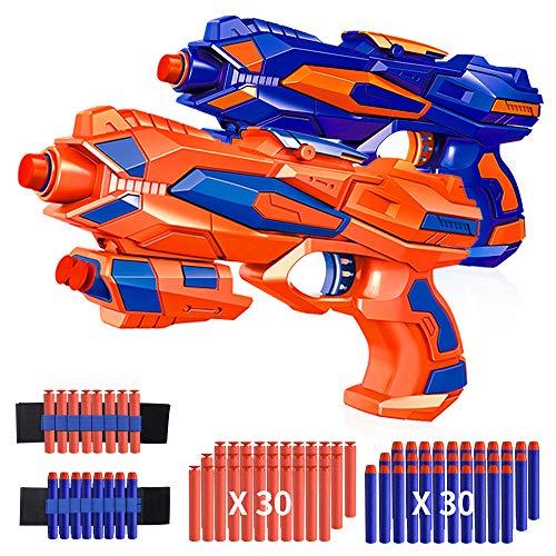 RegeMoudal 2 Pack Blaster Toy Guns Foam Bullet Toy Gun with 2 Foam Dart Wrist Band and 60 Pack Refill Soft Foam Darts Hand Gun Toys for Kids