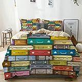 Juego de funda nórdica beige, maletas coloridas, fondo vintage, viaje, viaje, vacaciones, diseño artístico,...
