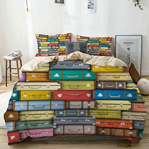 Juego de funda nórdica beige, maletas coloridas, fondo vintage, viaje, viaje, vacaciones, diseño artístico, decorativo, juego de cama de 3 piezas con 2 fundas de almohada, fácil cuidado, antialérgico,