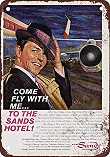 NNHG Tin Sign 8x12 inches 1961 Frank Sinatra for The Sands Hotel Las Vegas Metal Tin Sign