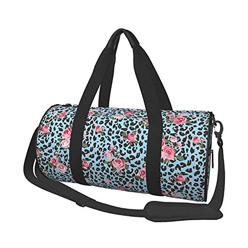 Bolsa de deporte para gimnasio, diseño floral de leopardo, redondo, bolsa de deporte ligera con compartimento para zapatos y bolsillo húmedo para mujeres o hombres