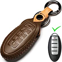 Leather Nissan Dedicated Cover Key Fob Case, Suit for Keyless Remote Control for Nissan Versa, Sentra, Altima, Maxima, Rogue, Infiniti Q50, Q60, QX50, QX60, QX80 and More Models (B Style, Brown)