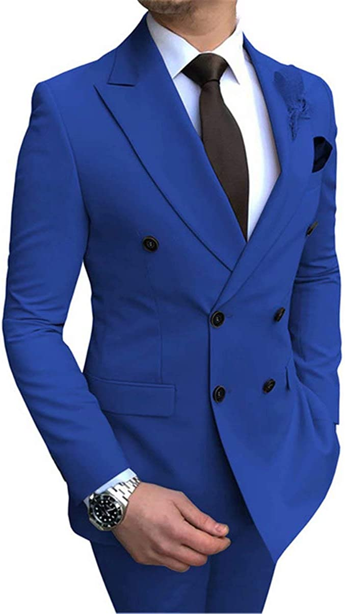 DREFEEL Men's Slim Fit 2 Piece Suit Double Breasted Tuxedo Business Wedding Casual Suits