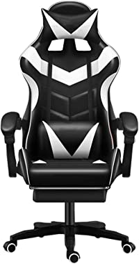 Gaming/Racing Style Adjustable Office Chair with Removable Headrest,High Back Cushion,Lumbar Cushion, and Footrest,360-Degree