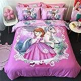 Cenarious Princess Sofia The First Unicorn Girls Cartoon Duvet Cover Set Cotton Flat Sheet Bed Cover - 4Pcs Bedding Set - Queen Flat Sheet Set - 86'x94' - 220x240cm