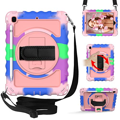 Case for iPad 9.7inch 6th gen 2018/5th Gen 2017, iPad air 2 case,Shockproof Heavy Duty Rugged Full Body Protective Case with Swivel Kickstand,Hand Strap, Nylon Strap (Colorful +Rose Gold)