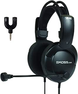 Koss SB40-ADP, Communication Headset with 3.5mm Headphone Splitter Adapter (2 TRS Female to 1 TRRS Male)