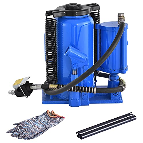 Pneumatic Air Hydraulic Bottle Jack 20 Ton Heavy Duty Bottle Jack with Manual Hand Pump for Auto Truck Repair Lift (Blue)