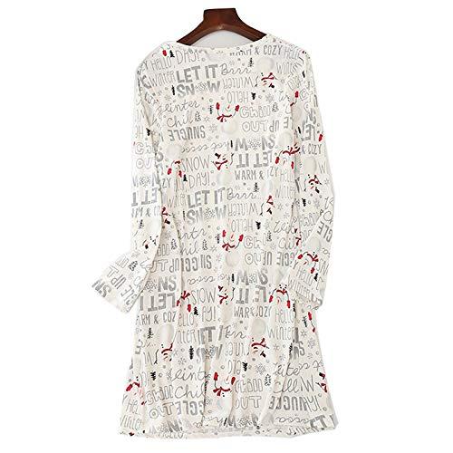 Jecarden Camisón corto para mujer, pijama de verano largo, de algodón, cuello redondo, de manga corta, para casa, pijamas, camisón sexy, vestido de playa Nº 9 L