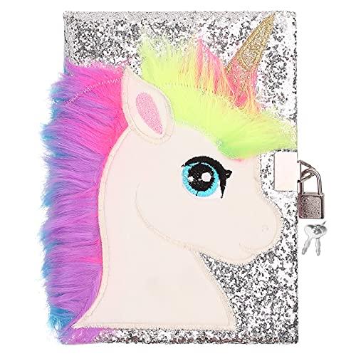 Ysoazgle Magic Diary for Girls Lovely Unicorn Fluffy Notebook 160 pagine per scrivere e disegnare Regali di compleanno di Natale per ragazze ... (Argento)