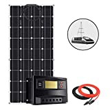 DSHUJC Kit de Panel Solar Flexible de 100 W y 12 V, Sistema Aislado para Remolque de Viaje con Controlador de Carga LCD de 20 A PWM y Cables solares para Carga de Bate