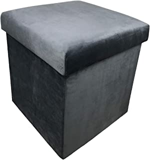 YIFONTIN Storage Cube Chest Ottoman Seat Foldable Footstool Bench Collapsible Folding Stool 15X15X15 inches, Grey Velvet
