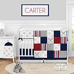 Sweet Jojo Designs Baseball Sports Baby Boy Nursery Crib Bedding Set – 5 Pieces – Red White and Blue Americana Stripe
