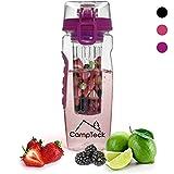 CampTeck U4685 1 Litro 1000ml Frutta Acqua Bottiglia Infusioni Borraccia Infusore (Plastica Tritan Senza BPA) con Coperchio a Prova di Perdite - Viola